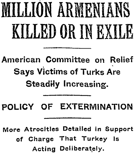 Armenian massacres and deportations were widely reported in