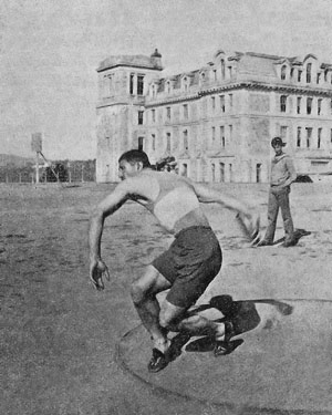 Mgrdich Mgrian practicing a discus throw on campus at Robert College, the school in Constantinople (Istanbul) that both he and co-Olympian Vahram Papazian attended