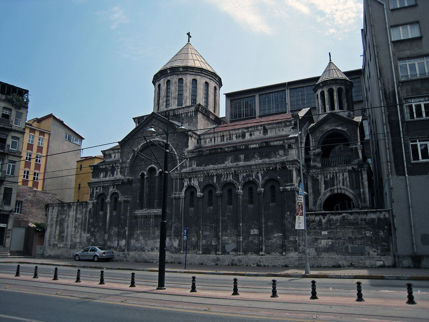The Getronagan Varjaran, or Central High School, established in 1886, next to the St. Gregory the Illuminator church, on a main thoroughfare in Istanbul; many illustrious names are associated with this school, within the walls of which is a piano once played by none other than Gomidas (Komitas)
