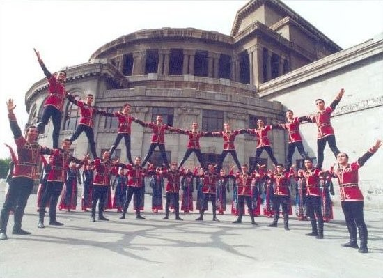 """The Bert, or """"Fortress"""" – a dance with a clearly descriptive name, being performed by a group of that same name, in front of the Opera House in Yerevan, Armenia"""