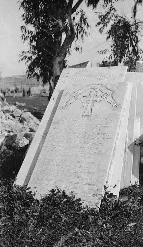 """""""Not a single grave was left untouched by the Turks and not a single tombstone was left standing. Many marble monuments had been taken away and apparently the New Zealanders arrived just in time to prevent the removal of those that remain."""" The Armenian Cemetery at Jaffa, not too far from Jerusalem, photographed by George Westmoreland; part of the UK's Ministry of Information First World War Official Collection"""