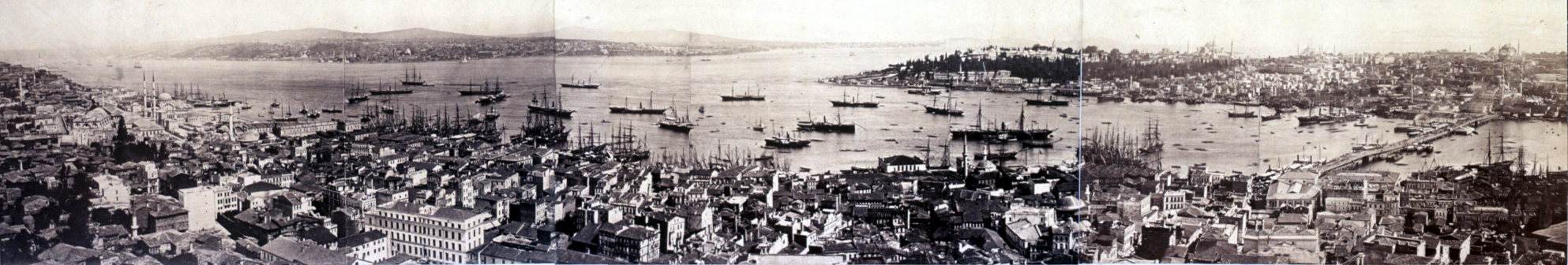 Constantinople around 1870, with a bridge across the Golden Horn seen on the right; the bridge that Mkrdich Cezayirliyan made had already been destroyed more than a decade before this picture was taken, whether by accident or due to sabotage by competitors is not known