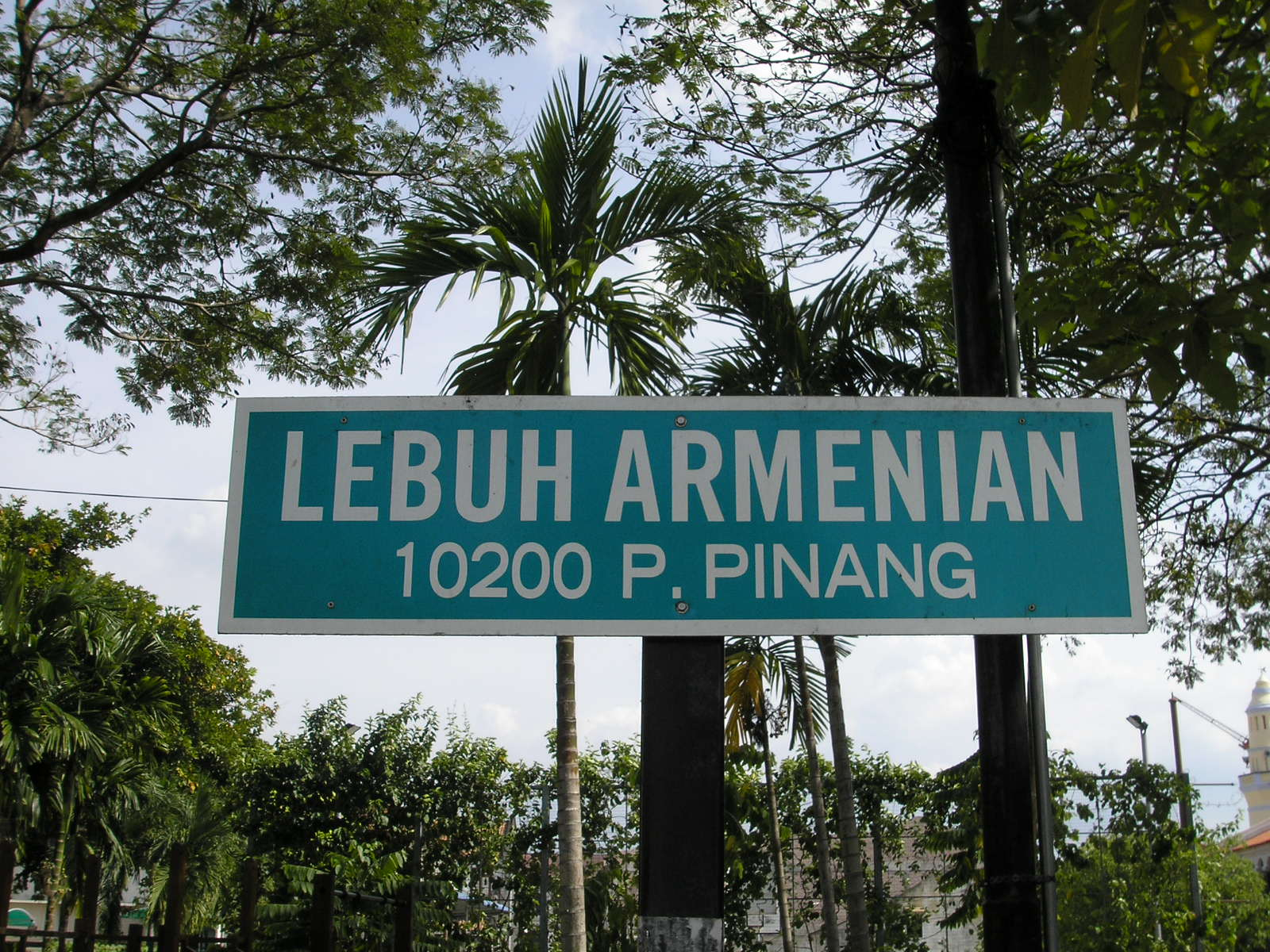 A sign for Armenian Street in historic George Town, capital of Penang in Malaysia