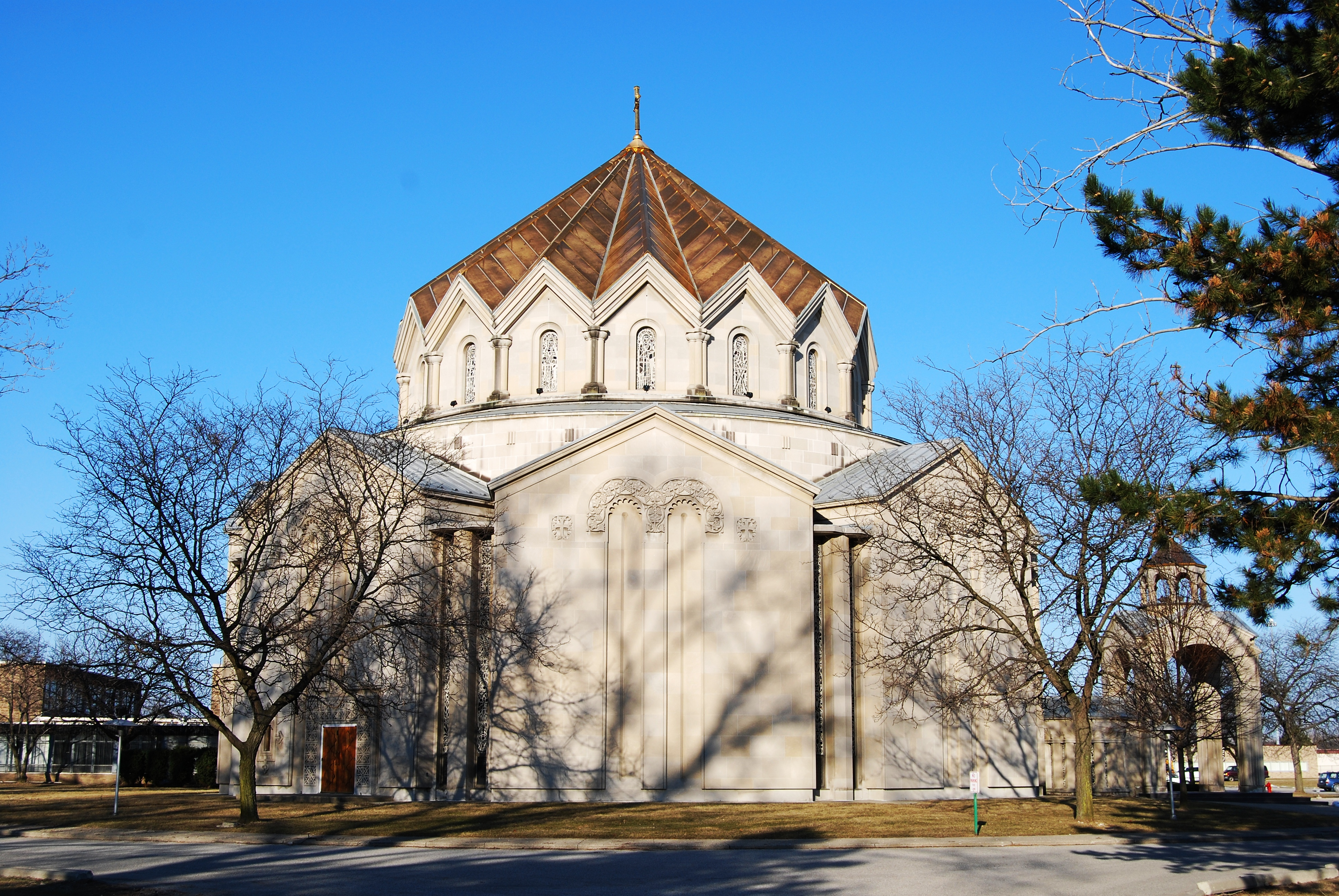 St. John Armenian Church, in Southfield, Michigan – one of numerous Armenian churches to be funded by the Manoogian family