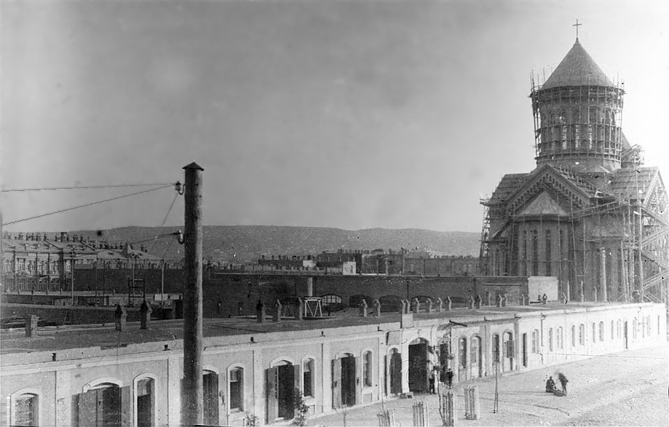 The St. Thaddeus-St. Bartholomew, or Budagovskiy, church – designed by Hovhannes Katchaznouni, who would serve as the first prime minister of Armenia in 1918-1919 – under construction in Baku in 1910-1911; it was torn down in the 1930s